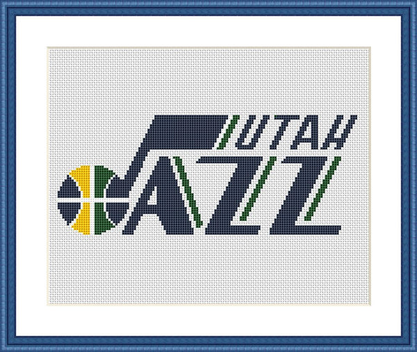 Utah Jazz cross stitch embroidery pattern