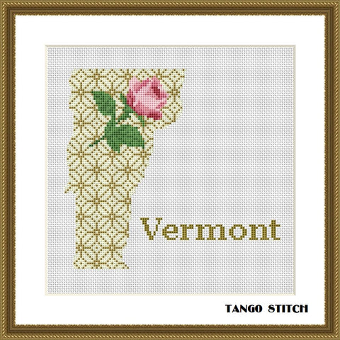Vermont USA state map flower ornament cross stitch pattern, Tango Stitch