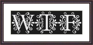 WTF black and white lettering cross stitch pattern