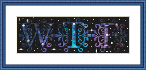WTF galaxy typography sassy cross stitch pattern