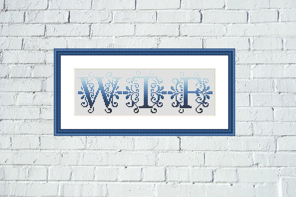 WTF gradient typography lettering cross stitch pattern