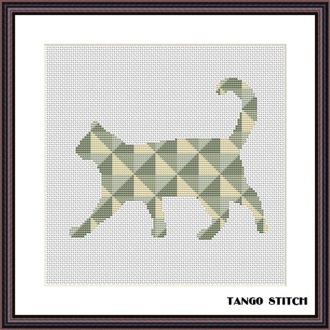 Walking cat geometric cross stitch pattern