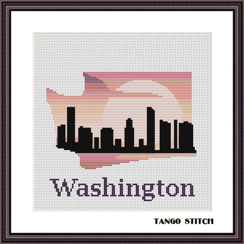 Washington USA state map skyline sunset cross stitch pattern