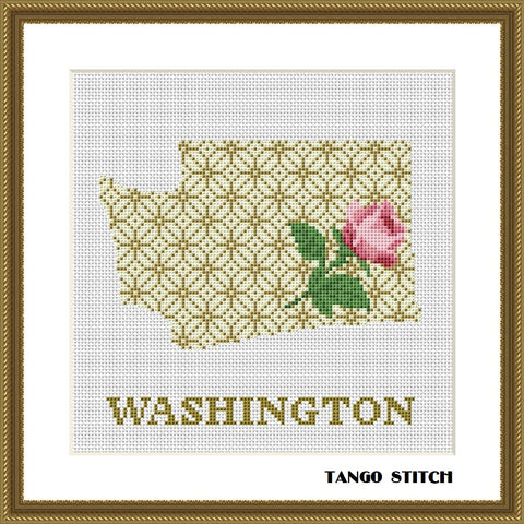 Washington USA state map ornament cross stitch pattern, Tango Stitch