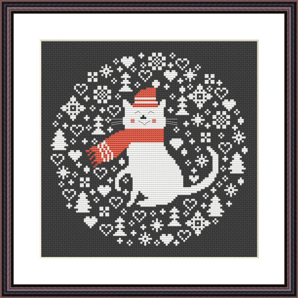 Christmas cat cross stitch pattern Cute animal embroidery design Black Aida