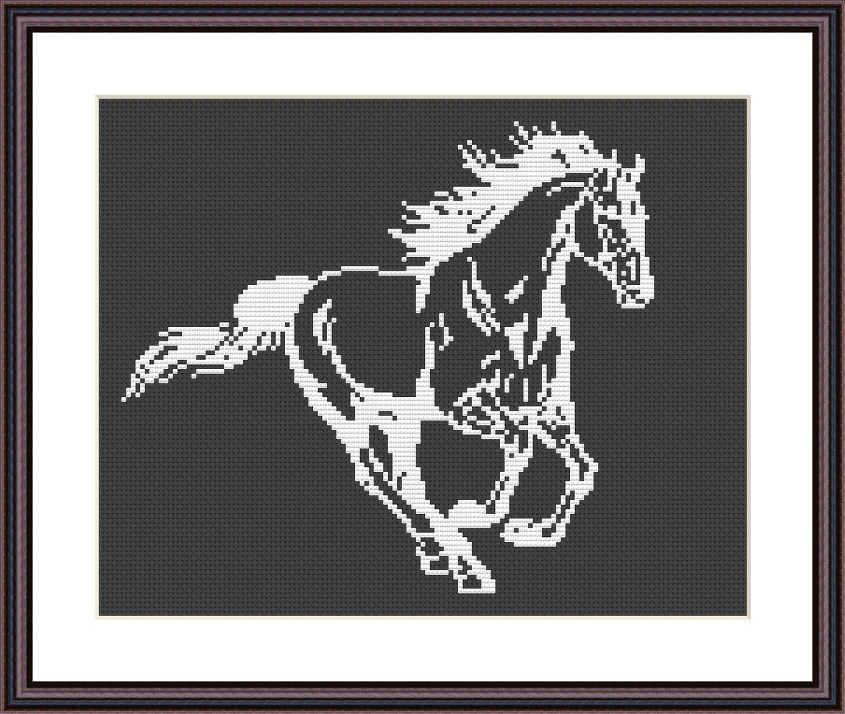 White horse cute animals black and white cross stitch pattern