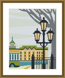 Saint Petersburg winter city landscape cross stitch pattern
