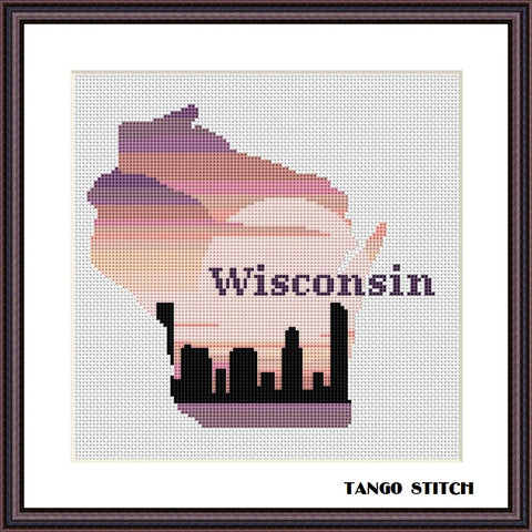 Wisconsin USA state map skyline sunset cross stitch pattern
