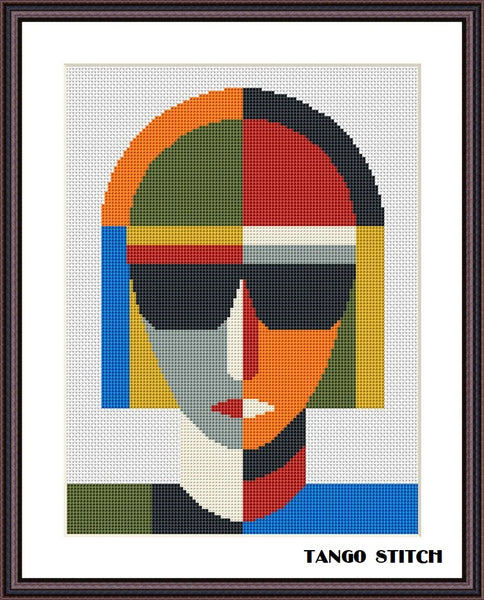Woman Malevich style abstract geometric cross stitch pattern