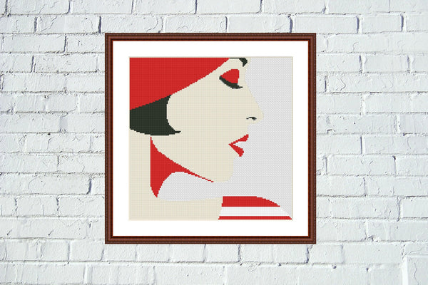 Woman in red Pop Art abstract cross stitch pattern