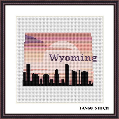 Wyoming USA state map skyline sunset cross stitch pattern