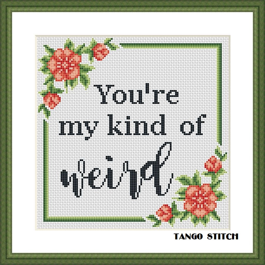You're my kind of weird funny sassy sarcastic cross stitch pattern