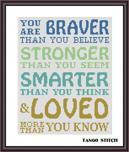 Christopher Robin quote Motivation nursery cross stitch pattern