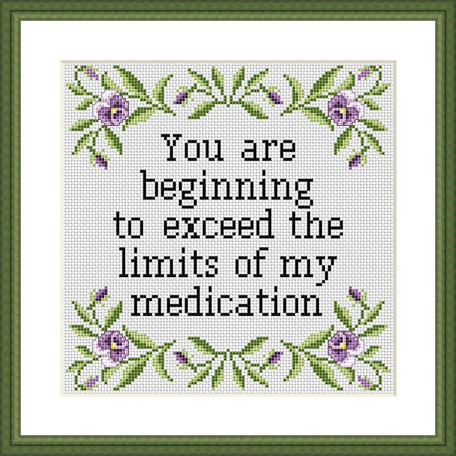 You are beginning to exceed funny sarcastic cross stitch pattern