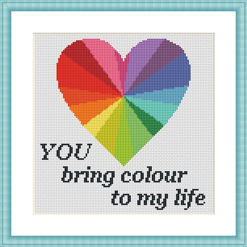 You bring colour to my life romantic Valentine cross stitch pattern