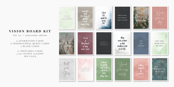 Printable Vision Board Kit 02: Positive Affirmation Cards, Motivational and Inspirational Quotes