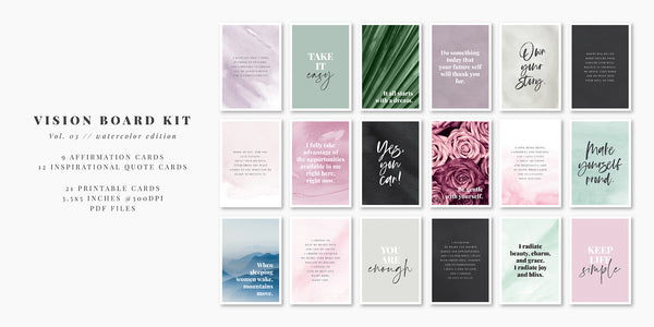 Printable Vision Board Kit 03: Positive Affirmation Cards, Motivational and Inspirational Quotes