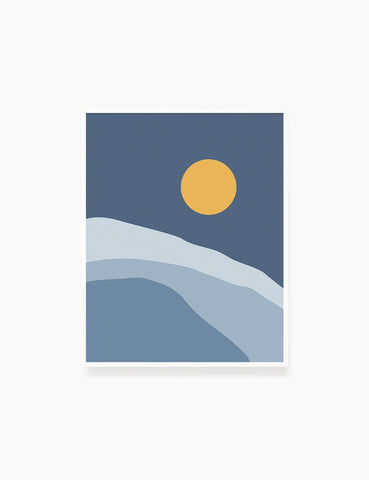 FULL MOON OVER THE BLUE OCEAN LANDSCAPE. BOHO ART. Minimalist. Abstract. Printable Wall Art Illustration. - PAPER MOON Art & Design