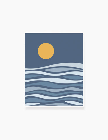 FULL MOON OVER THE BLUE OCEAN WAVES. BOHO ART. Minimalist. Abstract. Printable Wall Art Illustration. - PAPER MOON Art & Design