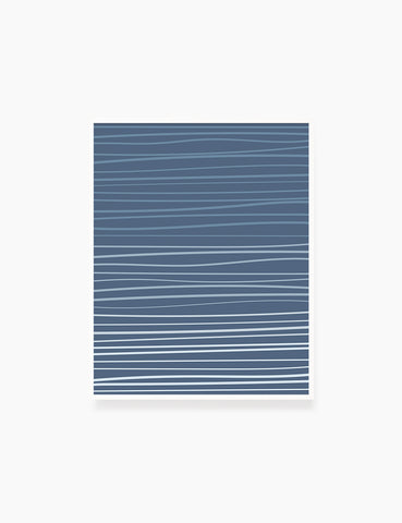 WAVY LINES. BLUE. Minimalist. Abstract. Boho Art. Printable Wall Art Illustration. - PAPER MOON Art & Design