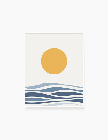SUN OVER THE BLUE OCEAN LANDSCAPE. BOHO ART. Minimalist. Abstract. Printable Wall Art Illustration. - PAPER MOON Art & Design