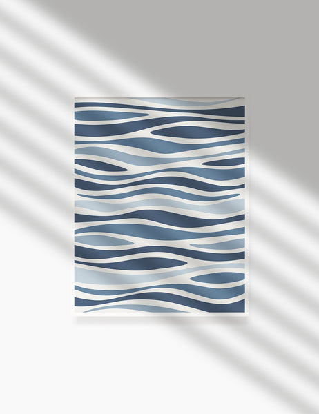 BLUE OCEAN WAVES. BOHO ART. Minimalist. Abstract. Printable Wall Art Illustration. - PAPER MOON Art & Design