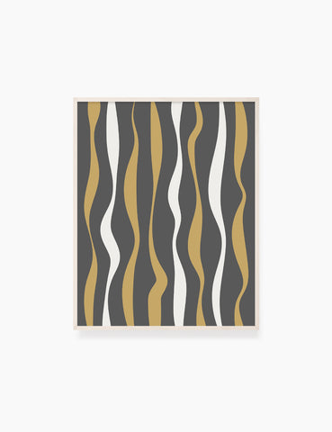 ABSTRACT MINIMAL WAVY LINES. Boho Art Print. Printable Wall Art Illustration. Wavy lines in dark grey, dull orange, and beige. Abstract art. Minimal design. Minimalist, abstract illustration art. Printable poster. | PAPER MOON Art & Design