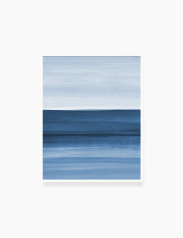 BLUE OCEAN LANDSCAPE. WATERCOLOR PAINTING. Abstract Art. Printable Wall Art Illustration. - PAPER MOON Art & Design