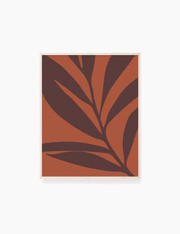 LEAF. MINIMALIST BOTANICAL BOHO ART. BURNT ORANGE, BROWN. Printable Wall Art Illustration. - PAPER MOON Art & Design
