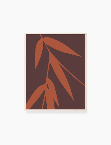 BAMBOO LEAVES. MINIMALIST BOTANICAL BOHO ART. BURNT ORANGE, BROWN. Printable Wall Art Illustration. - PAPER MOON Art & Design