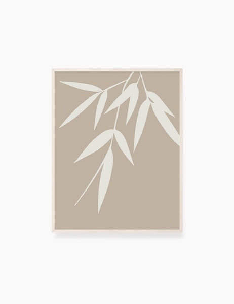 BAMBOO LEAVES. MINIMALIST BOTANICAL BOHO ART. BEIGE. Printable Wall Art Illustration. - PAPER MOON Art & Design