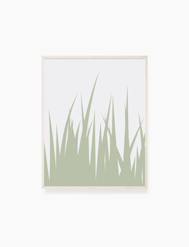 GRASS. MINIMALIST BOTANICAL BOHO ART. GREEN AND BEIGE. Minimal Aesthetic. Clean Design. Printable Wall Art Illustration. - PAPER MOON Art & Design