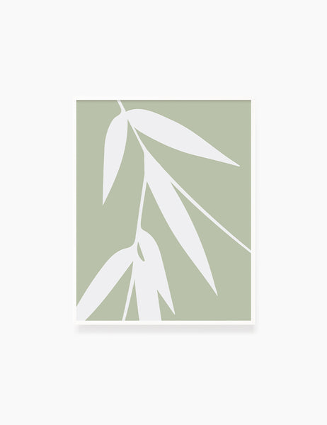 BAMBOO LEAVES. MINIMALIST BOTANICAL BOHO ART. GREEN. Minimal Aesthetic. Clean Design. Printable Wall Art Illustration. - PAPER MOON Art & Design