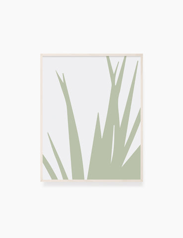 LEAVES. GRASS. MINIMALIST BOTANICAL BOHO ART. GREEN AND BEIGE. Minimal Aesthetic. Clean Design. Printable Wall Art Illustration. - PAPER MOON Art & Design