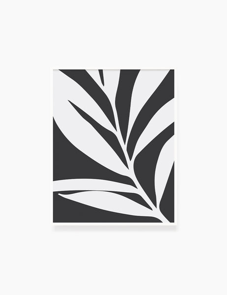 LEAF. MINIMALIST BOTANICAL BOHO ART. BLACK AND WHITE. Minimal Aesthetic. Clean Design. Printable Wall Art Illustration. - PAPER MOON Art & Design