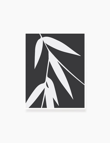 BAMBOO LEAVES. MINIMALIST BOTANICAL BOHO ART. BLACK AND WHITE. Minimal Aesthetic. Clean Design. Printable Wall Art Illustration. - PAPER MOON Art & Design