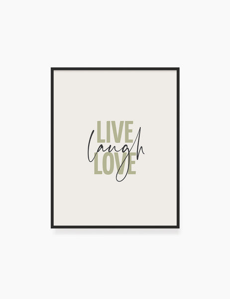 LIVE. LAUGH. LOVE. Green. Beige. Inspirational quote. Printable Wall Art Quote. - PAPER MOON Art & Design
