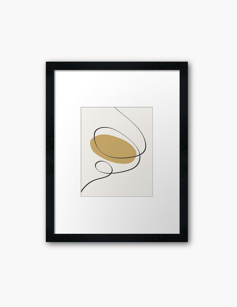 MINIMAL LINE ART. Abstract Shapes. Boho Aesthetic. Yellow Gold. Beige. Black. Printable Wall Art Illustration. - PAPER MOON Art & Design
