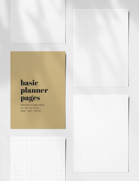 Printable Basic Planner Pages | Lined, Grid. Dotted | Printable Planner Essentials | A4 | A5 | US Letter | Printable Planner Pages | Minimal Aesthetic | Clean Design | PDF + JPEG | PAPER MOON Art & Design