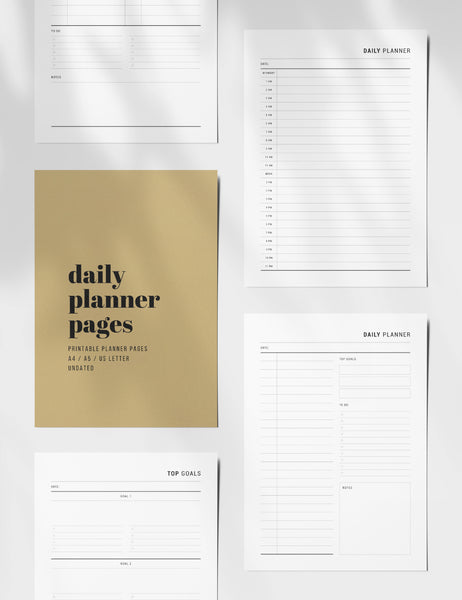 Printable Daily Planner | Undated | Printable Planner Essentials | A4 | A5 | US Letter | Printable Planner Pages | Minimal Aesthetic | Clean Design | PDF + JPEG | PAPER MOON Art & Design