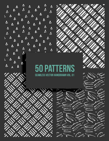50 Hand-Drawn Seamless Vector Patterns 01 Pen & Ink Patterns, Doodle Patterns - Paper Moon Art & Design