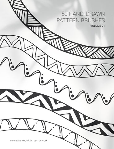 50 Hand-Drawn Vector Pattern Brushes 01 Geometric, Tribal, Boho, Floral - Illustrator Pattern Brushes - Paper Moon Art & Design