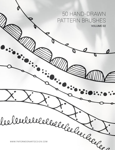 50 Hand-Drawn Vector Pattern Brushes 02 Abstract, Tribal, Boho, Floral - Illustrator Pattern Brushes - Paper Moon Art & Design