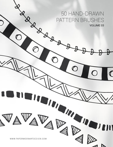 50 Hand-Drawn Vector Pattern Brushes 03 Geometric, Tribal, Boho, Floral - Illustrator Pattern Brushes - Paper Moon Art & Design