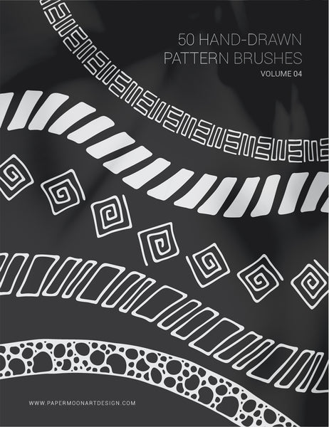 50 Hand-Drawn Vector Pattern Brushes 04 Abstract, Geometric, Tribal, Boho - Illustrator Pattern Brushes - Paper Moon Art & Design