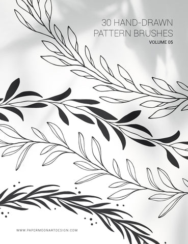 30 Hand-Drawn Vector Pattern Brushes 05 Botanical, Floral, Leaves, Branches, Foliage - Illustrator Pattern Brushes - Paper Moon Art & Design