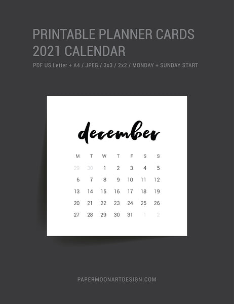 2021 Calendar | 3x3 | 2x2 | Printable Journal & Planner Cards | Printable Mini Calendar 2021 | Minimal Aesthetic | Clean Design |  PAPER MOON Art & Design