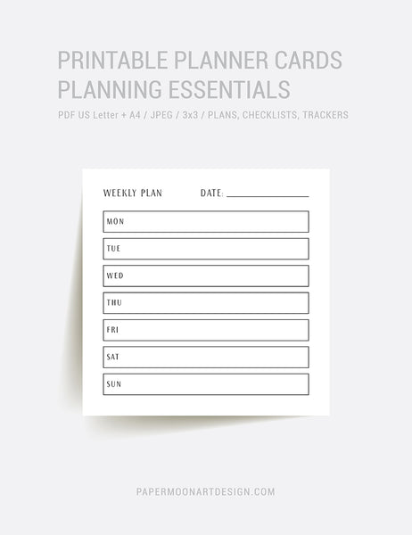 Planning Essentials | 3x3 | Printable Journal & Planner Cards | Daily Plans, Weekly Plans, Checklists, Habit Trackers, To Do Lists, Notes | Minimal Aesthetic | Clean Design | PAPER MOON Art & Design