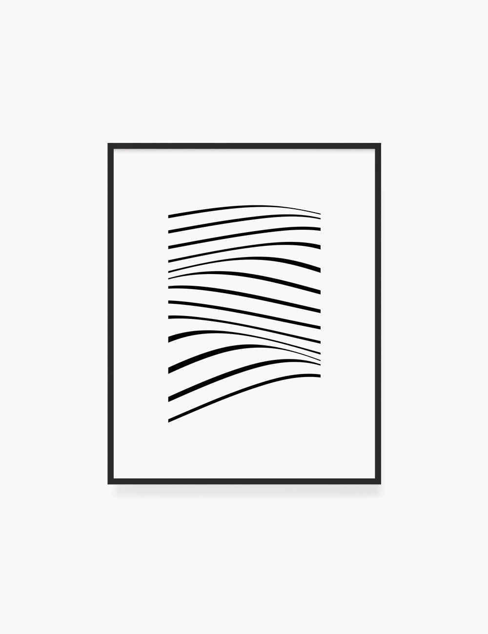 PRINTABLE WALL ART ILLUSTRATION: Minimalist Black and White Abstract Waves. Stylish. Modern. Wavy.