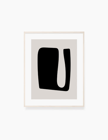 BLACK AND BEIGE MINIMALIST ABSTRACT ART. Printable Wall Art Illustration. Abstract shape. WA053
